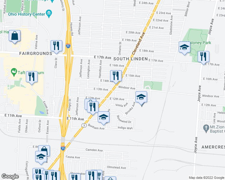 map of restaurants, bars, coffee shops, grocery stores, and more near Cleveland Ave &