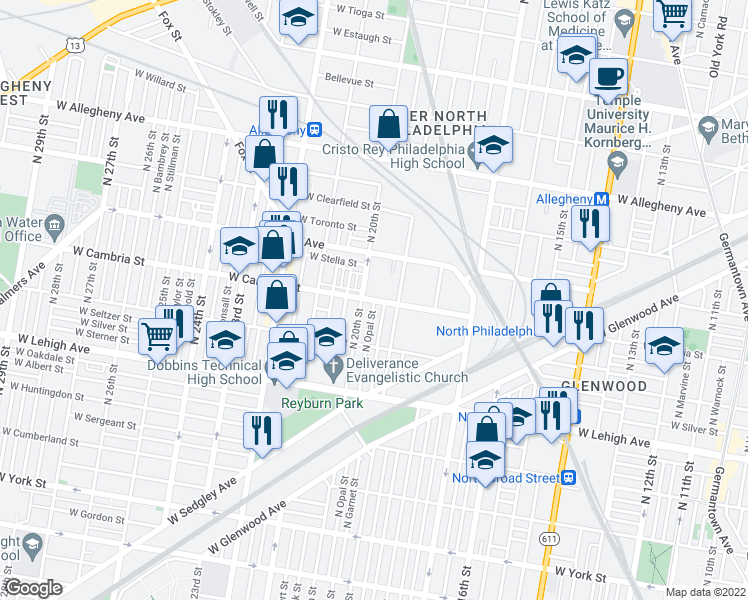 map of restaurants, bars, coffee shops, grocery stores, and more near W Cambria St & N Opal St in Philadelphia