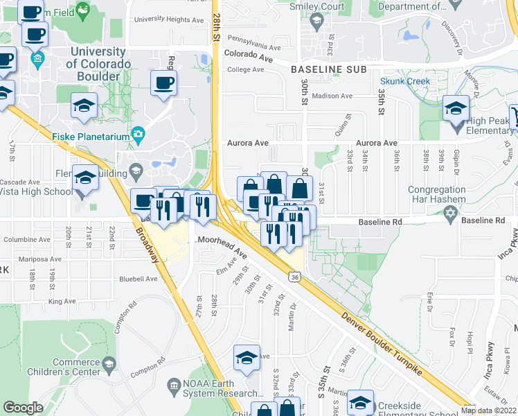 map of restaurants, bars, coffee shops, grocery stores, and more near 2843-2899 Baseline Rd in Boulder