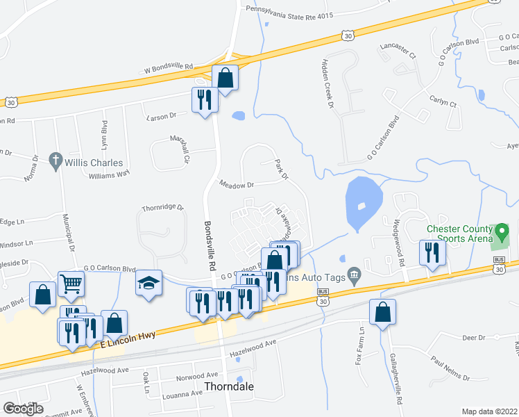 map of restaurants, bars, coffee shops, grocery stores, and more near 207 Meadow Drive in Downingtown