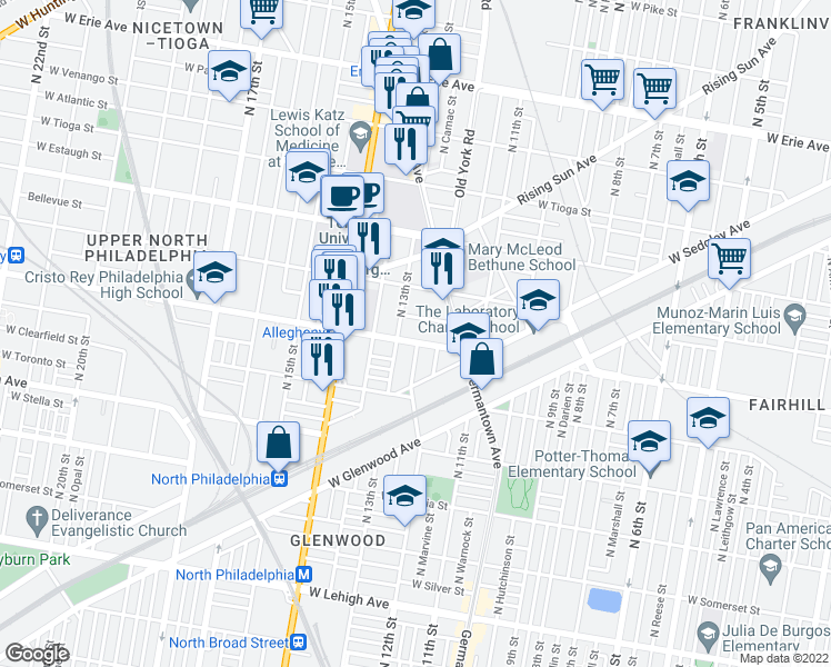 map of restaurants, bars, coffee shops, grocery stores, and more near 1235 West Allegheny Avenue in Philadelphia
