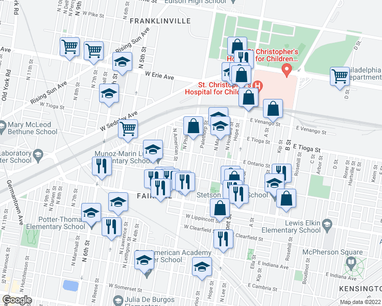 map of restaurants, bars, coffee shops, grocery stores, and more near North 2nd Street in Philadelphia