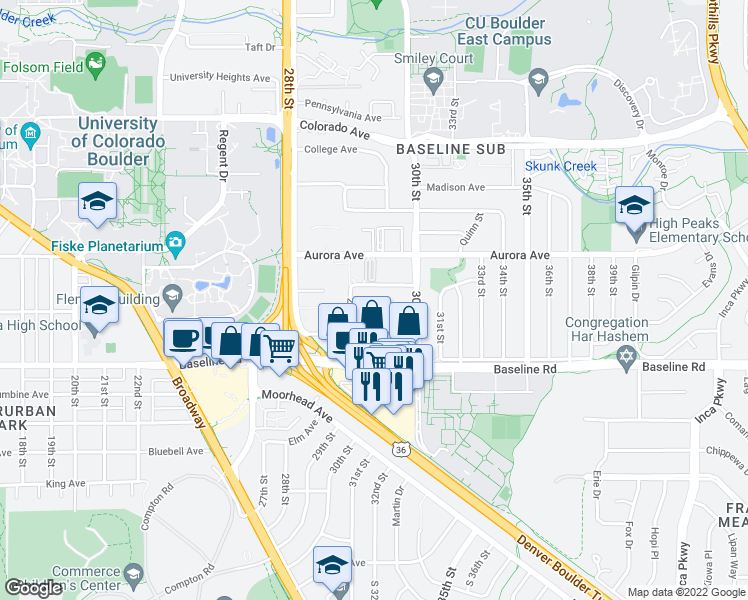 map of restaurants, bars, coffee shops, grocery stores, and more near 2950 Bixby Ave in Boulder