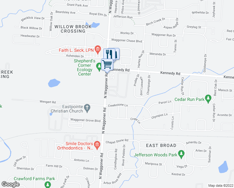 map of restaurants, bars, coffee shops, grocery stores, and more near 7974-8006 Equitana Way in Blacklick
