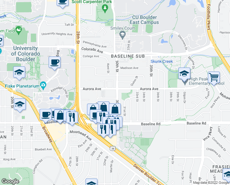 map of restaurants, bars, coffee shops, grocery stores, and more near 865 30th Street in Boulder
