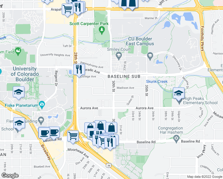 map of restaurants, bars, coffee shops, grocery stores, and more near 1055 30th Street in Boulder