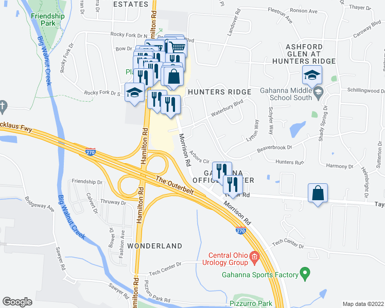 map of restaurants, bars, coffee shops, grocery stores, and more near 150 Arbors Circle in Columbus