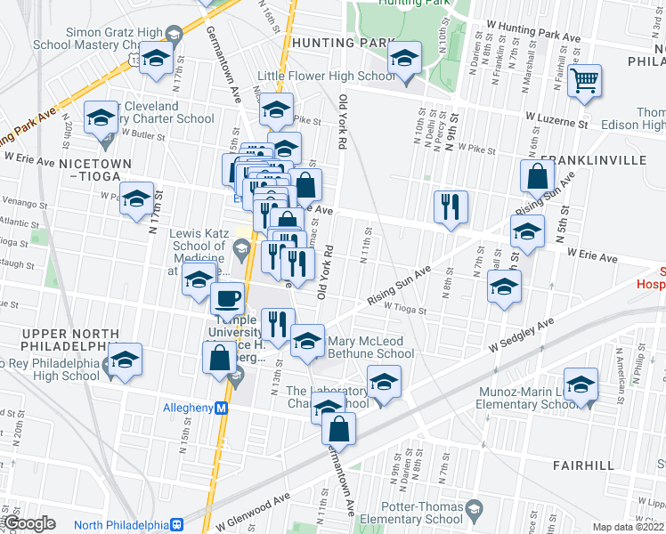 map of restaurants, bars, coffee shops, grocery stores, and more near 3547 Old York Rd in Philadelphia