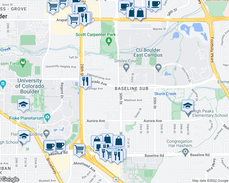 map of restaurants, bars, coffee shops, grocery stores, and more near 1121 30th St in Boulder