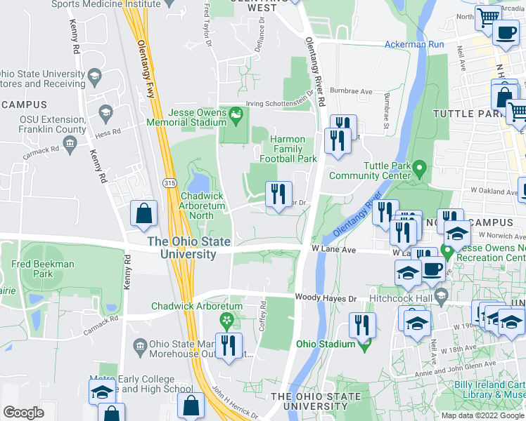 map of restaurants, bars, coffee shops, grocery stores, and more near 555 Borror Dr in Columbus
