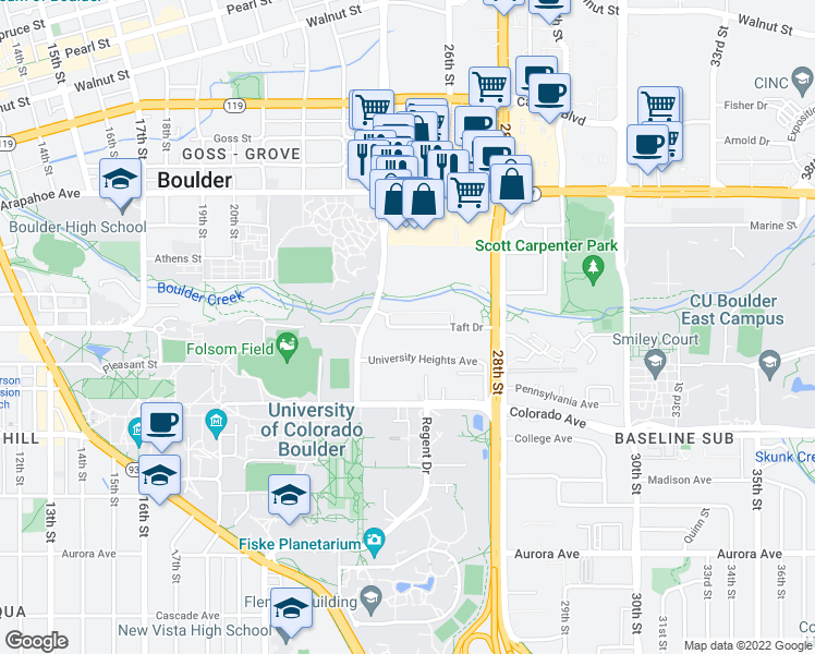 map of restaurants, bars, coffee shops, grocery stores, and more near 2501-2525 Taft Dr in Boulder
