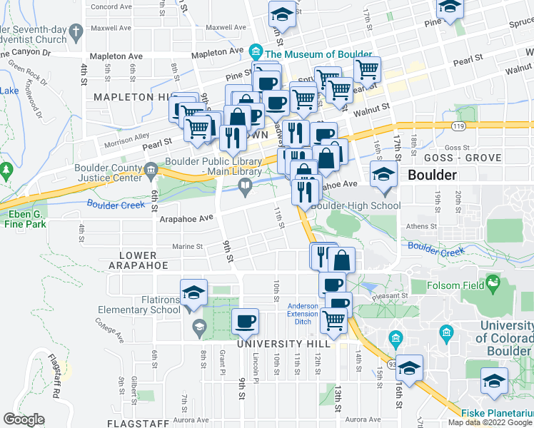 map of restaurants, bars, coffee shops, grocery stores, and more near 1005-1071 Marine St in Boulder