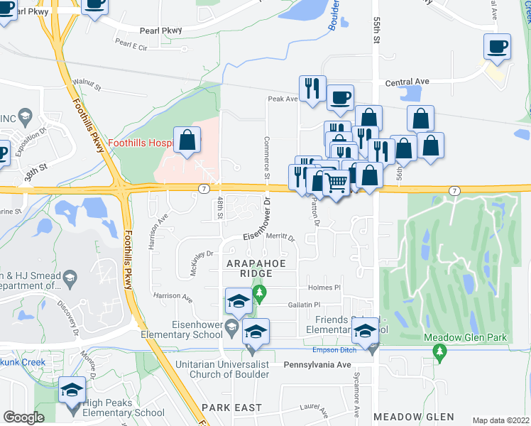 map of restaurants, bars, coffee shops, grocery stores, and more near 4830 Meredith Way in Boulder