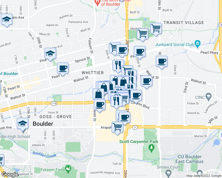 map of restaurants, bars, coffee shops, grocery stores, and more near 1853 26th St in Boulder