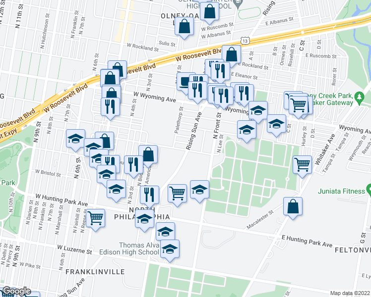 map of restaurants, bars, coffee shops, grocery stores, and more near 4500 Rising Sun Avenue in Philadelphia