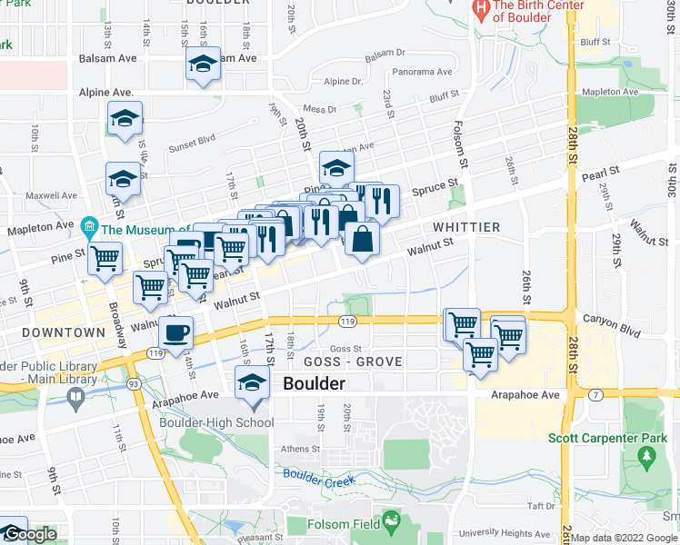 map of restaurants, bars, coffee shops, grocery stores, and more near Walnut Street & 20th Street in Boulder