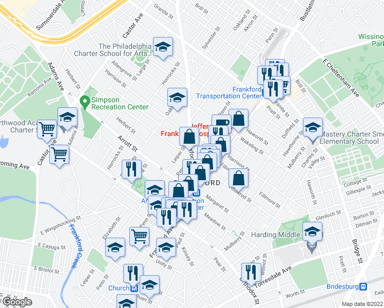 map of restaurants, bars, coffee shops, grocery stores, and more near Oxford Ave & Penn St in Philadelphia