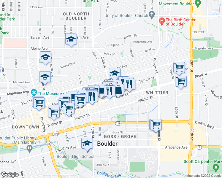 map of restaurants, bars, coffee shops, grocery stores, and more near Spruce St & 20th St in Boulder