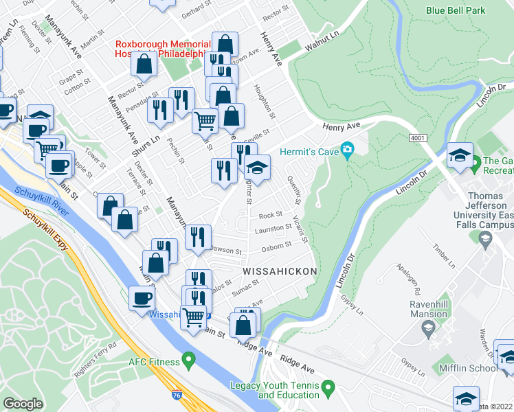 map of restaurants, bars, coffee shops, grocery stores, and more near 203 Rock Street in Philadelphia