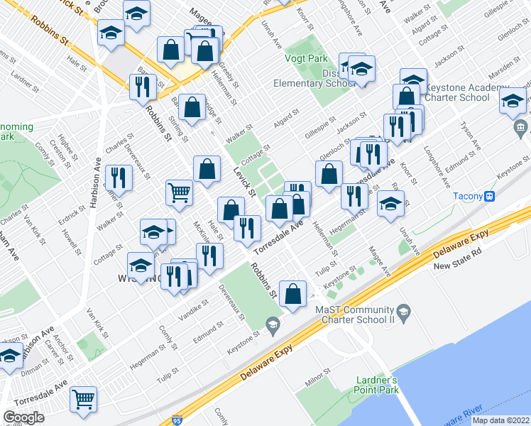 map of restaurants, bars, coffee shops, grocery stores, and more near Levick St & Ditman St in Philadelphia