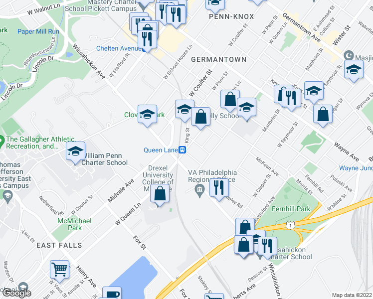 map of restaurants, bars, coffee shops, grocery stores, and more near W Queen Ln & W Ki