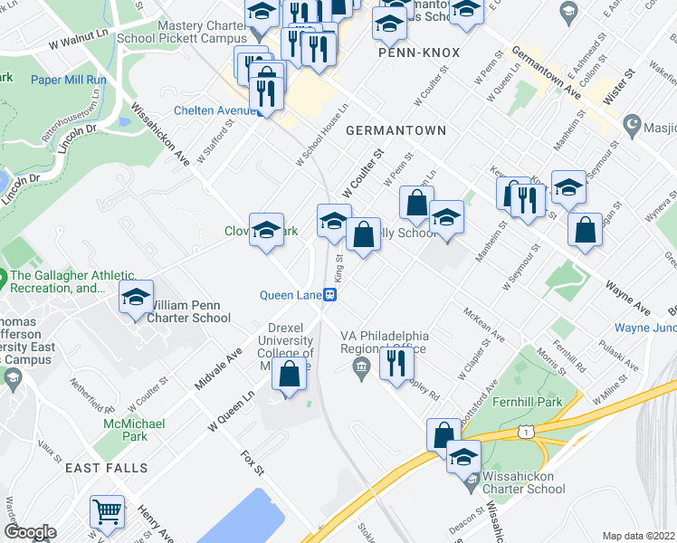 map of restaurants, bars, coffee shops, grocery stores, and more near 5317 Laurens St in Philadelphia