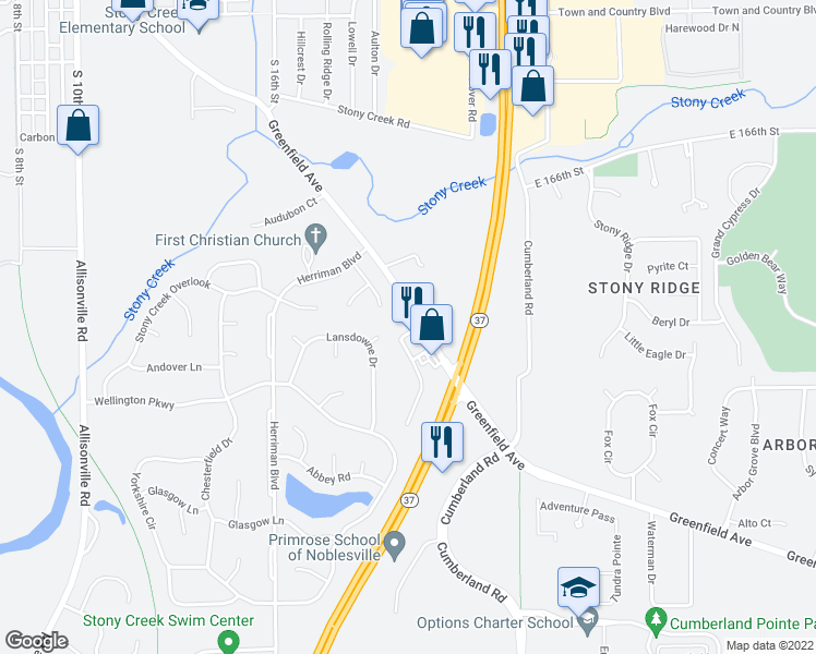 map of restaurants, bars, coffee shops, grocery stores, and more near 714 Pemberly Court in Noblesville
