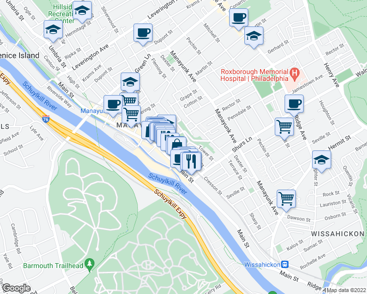 map of restaurants, bars, coffee shops, grocery stores, and more near Pensdale St & Apple St in Philadelphia