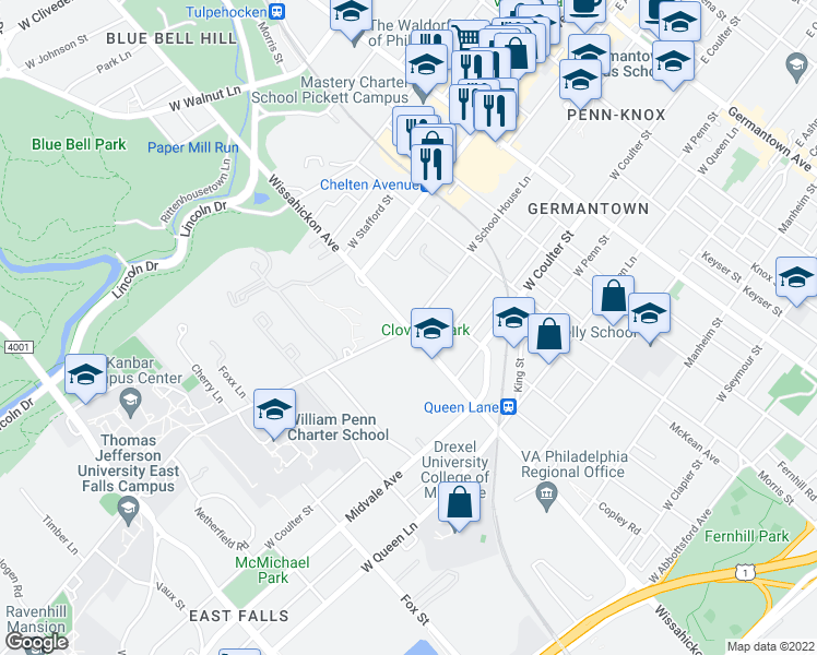 map of restaurants, bars, coffee shops, grocery stores, and more near Wissahickon Avenue & West School House Lane in Philadelphia