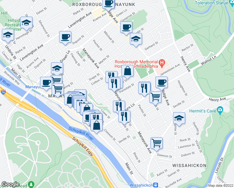 map of restaurants, bars, coffee shops, grocery stores, and more near Manayunk Ave & Pensdale St in Philadelphia