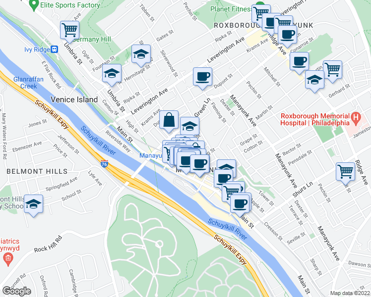map of restaurants, bars, coffee shops, grocery stores, and more near 4414 St Davids St in Philadelphia