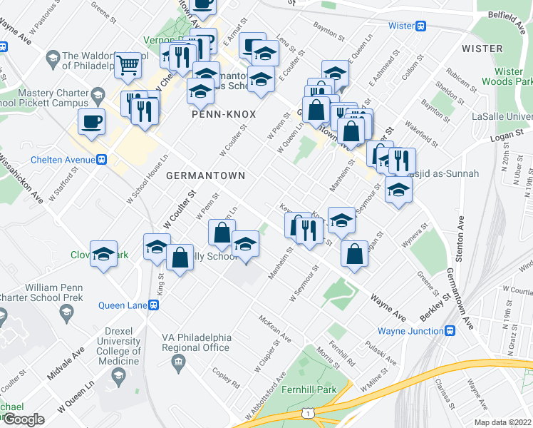 map of restaurants, bars, coffee shops, grocery stores, and more near 5201 Wayne Avenue in Philadelphia