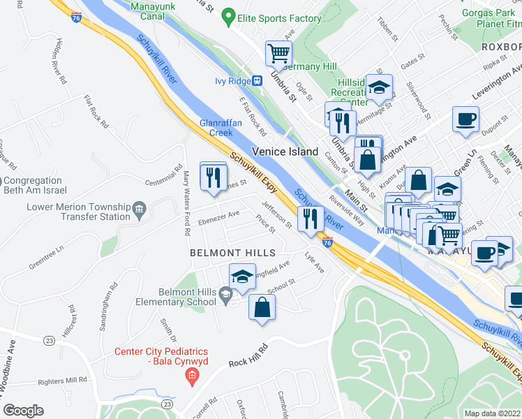 map of restaurants, bars, coffee shops, grocery stores, and more near 85 Price Street in Bala Cynwyd