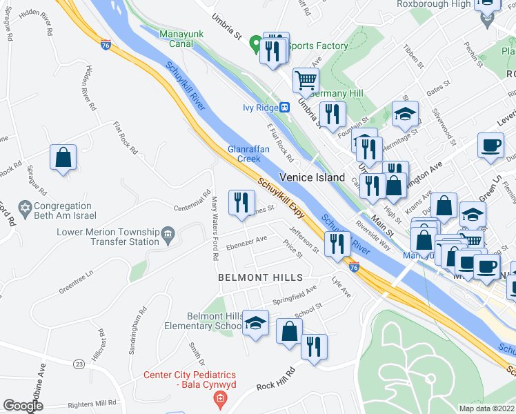 map of restaurants, bars, coffee shops, grocery stores, and more near 129 Jones Street in Bala Cynwyd
