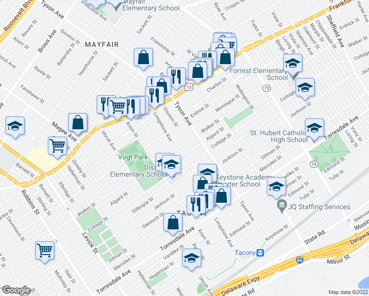 map of restaurants, bars, coffee shops, grocery stores, and more near 6919 Walker Street in Philadelphia