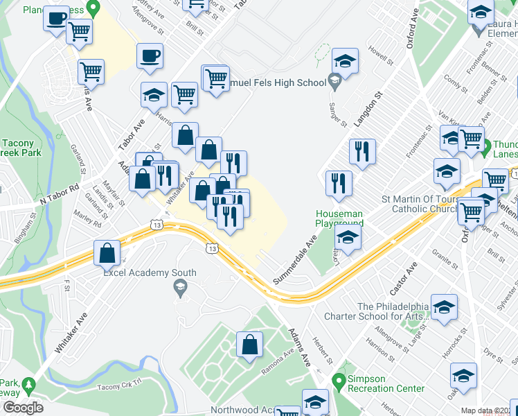 map of restaurants, bars, coffee shops, grocery stores, and more near 17 in Philadelphia