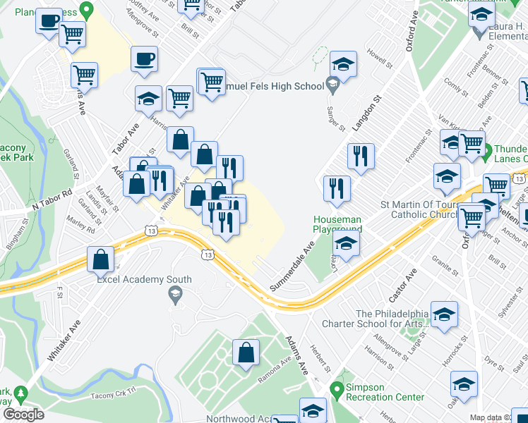 map of restaurants, bars, coffee shops, grocery stores, and more near 26 in Philadelphia
