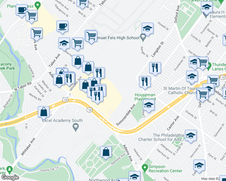 map of restaurants, bars, coffee shops, grocery stores, and more near 23 in Philadelphia