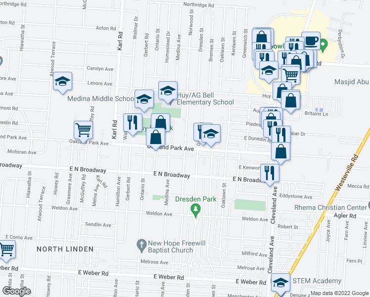 map of restaurants, bars, coffee shops, grocery stores, and more near Oakland Park Ave & Norwood St in Columbus