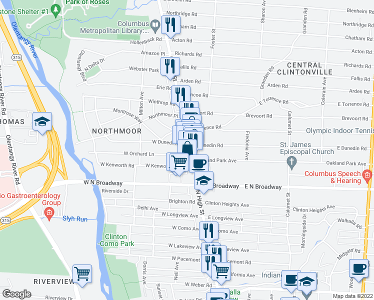 map of restaurants, bars, coffee shops, grocery stores, and more near 3519 High St in Columbus