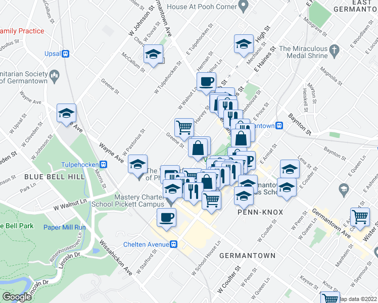 map of restaurants, bars, coffee shops, grocery stores, and more near W Haines St in Philadelphia