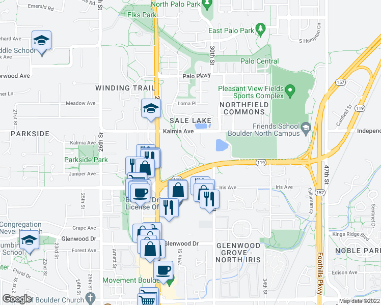 map of restaurants, bars, coffee shops, grocery stores, and more near 2887-2959 Diagonal Hwy in Boulder