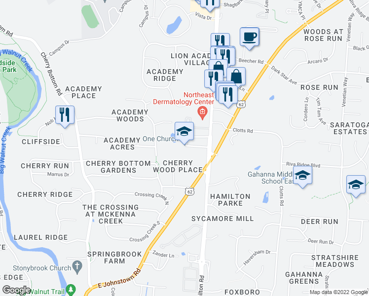 map of restaurants, bars, coffee shops, grocery stores, and more near 817 North Hamilton Road in Gahanna