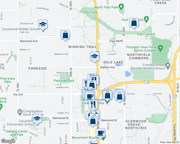 map of restaurants, bars, coffee shops, grocery stores, and more near 3560 Arthur Ct in Boulder