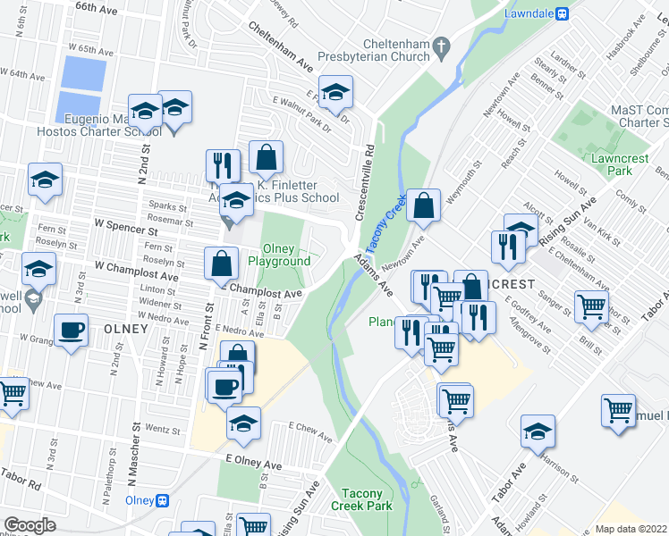 map of restaurants, bars, coffee shops, grocery stores, and more near 6100 Crescentville Road in Philadelphia