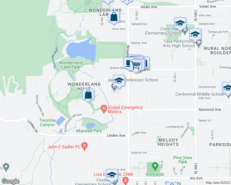 map of restaurants, bars, coffee shops, grocery stores, and more near 3900-3910 Orange Court in Boulder