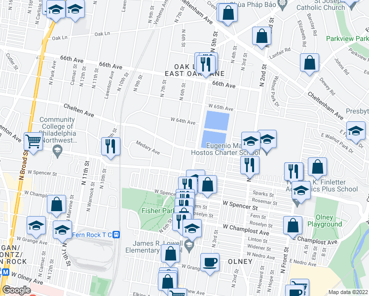 map of restaurants, bars, coffee shops, grocery stores, and more near 549 Chelten Ave in Philadelphia