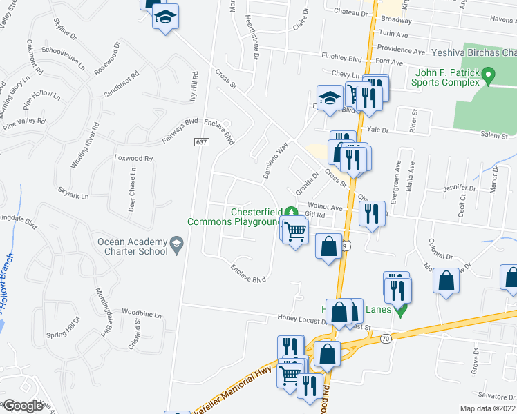 map of restaurants, bars, coffee shops, grocery stores, and more near 550 Bennington Lane in Lakewood Townsh