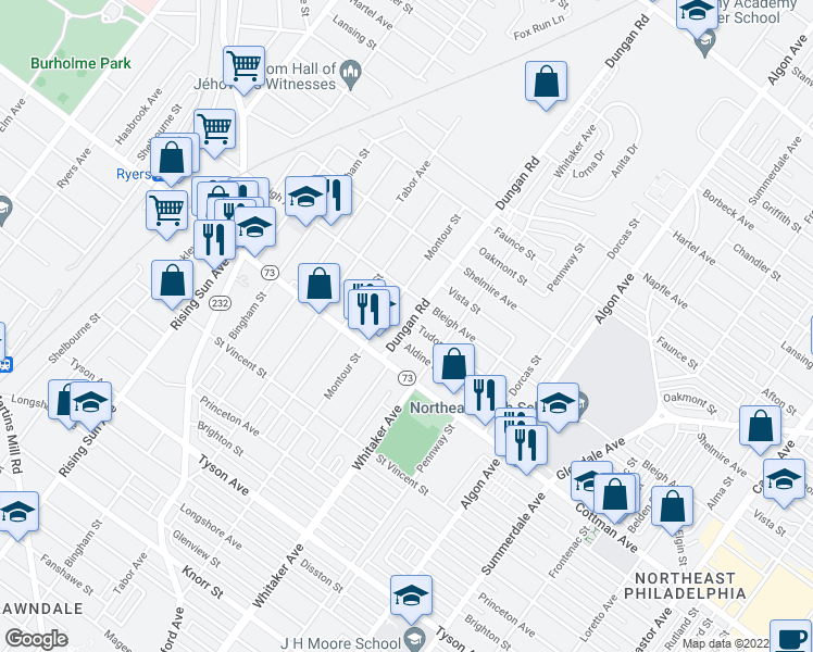 map of restaurants, bars, coffee shops, grocery stores, and more near 1327 Tudor St in Philadelphia