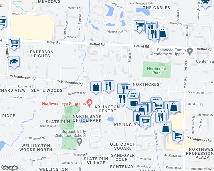 map of restaurants, bars, coffee shops, grocery stores, and more near Cobblestone Dr in Columbus